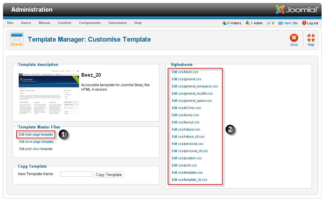 How to edit site template in joomla 2 5 for Joomla administrator templates