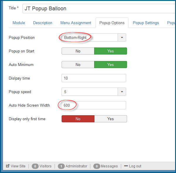 JT Popup Balloon Pro Options
