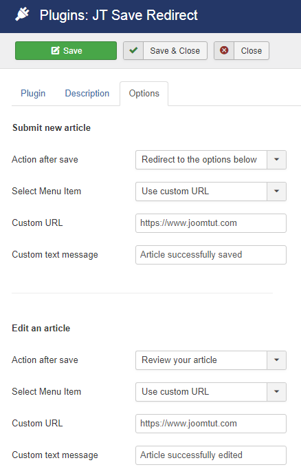 Plugin JT Save Redirect Options