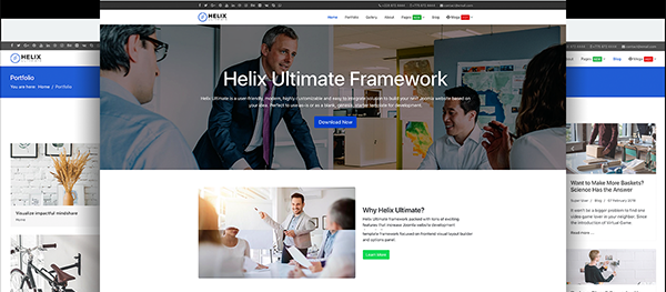 Free Joomla! template with Helix Framework and SP Page Builder Pro