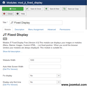 Module JT Fixed Display Free Settings