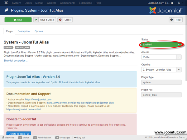 Enabled plugin JoomTut Alias