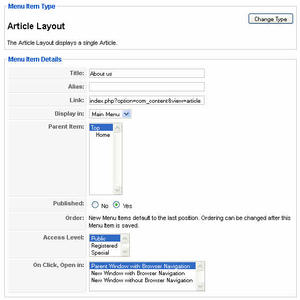 Article layout menu item details