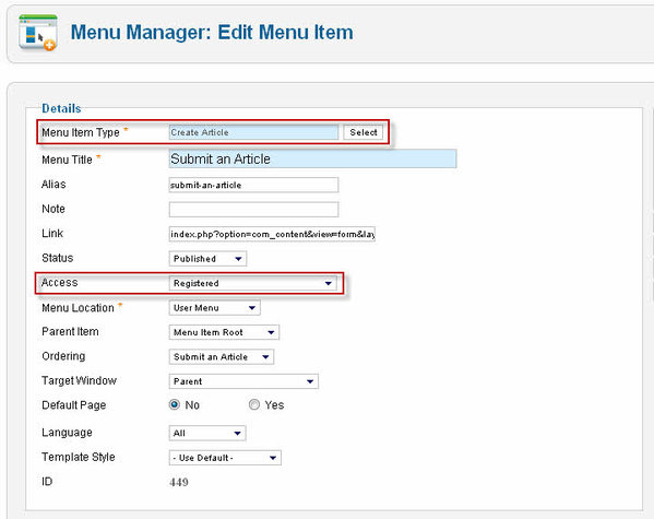 create a menu item type Create Article