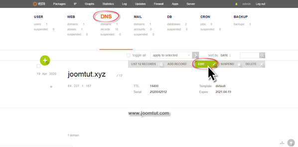 Edit your domain name DNS