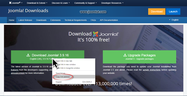Get the link of the current version of Joomla! installation package at Joomla! download page
