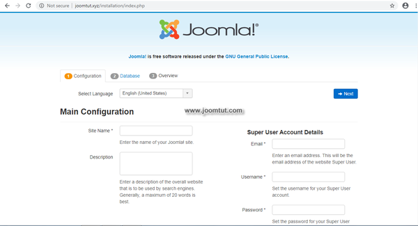 Now go to your domain name. Joomla! will automatically run the installer