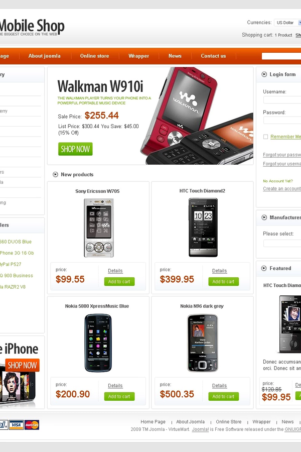 Mobile Shop VirtueMart Template