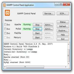 The XAMPP control panel for start/stop Apache, MySQL, FilaZilla & Mercury or install these server as services.