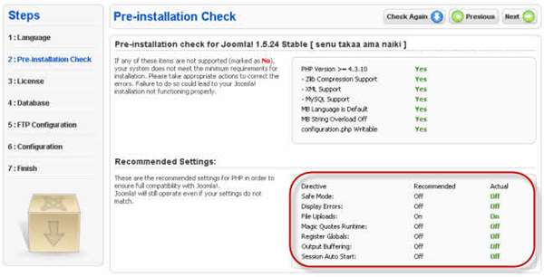 PHP recommended settings for Joomla!